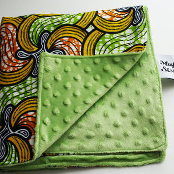 Baby ankara blanket minky double sided quilt soft crib African