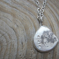 Artisan Silver Necklace, Abstract Silver Pebble Necklace, Silver Disc Necklace