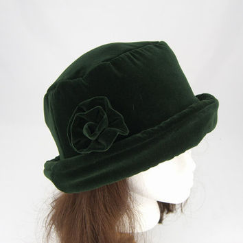 Forest Green VELVET Hat with velvet rose, Women's Velvet Hat, Velvet Hat, Forest Green Velvet