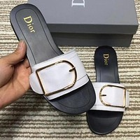 Dior Women Fashion Leather Buckle Slipper Sandals Shoes