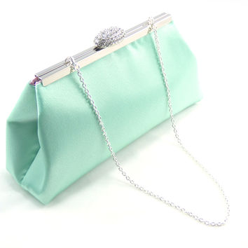 Mint Green and Light Pink Bridal Clutch