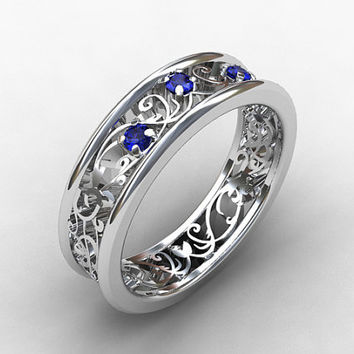 blue sapphire ring white gold wedding band filigree engagement sapphire ring - Wiccan Wedding Rings