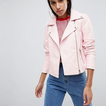 Noisy May Leather Look Biker Jacket at asos.com