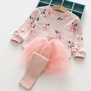 New Girls Clothing Sets Spring&Autumn Wear Girls Clothes Cotton Printing Long Sleeves Net yarn splicing  Dress Pant Kids Sets