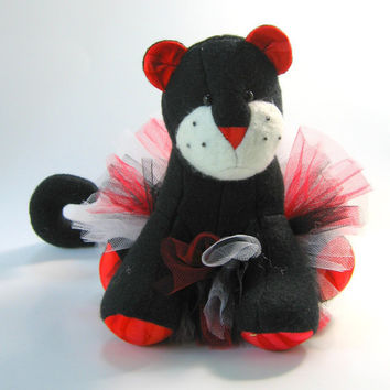 Rosie the Dancing Panther, plush, small stuffed animal, soft, red, black