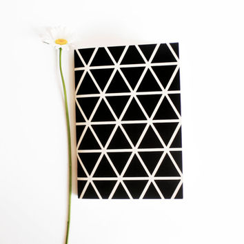 hand screenprinted small A6 notebook pocket journal recycled paper sketch book triangle print