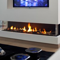 Gas fireplace with panoramic glass Panorama 150 by BRITISH FIRES