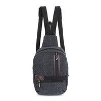 Men's Women's Canvas Crossbody Bag Shoulder Bag Chest Bag with Adjustable Strap