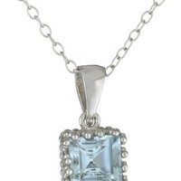 Sterling Silver Blue Topaz Square Crown Set Pendant Necklace, 18""