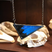 Blue Mountain Swallowtail Butterfly Scalene Triangle Pendant