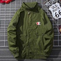 Champion tide brand men's and women's wild retro loose tooling jacket Green