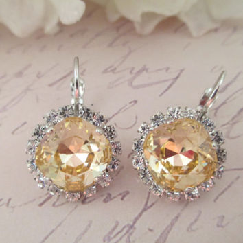 Swarovski crystal halo earrings,12mm, square, cushion cut light peach classy, feminine #215