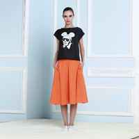 Black Short Sleeved Face Print Orange A-Line Maxi Skirt