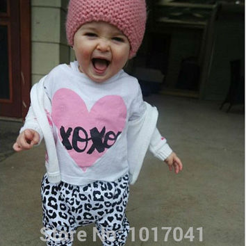 Baby girl clothes 2016 autumn baby romper infant clothes cotton printed Long sleeve T-Shirt+pants newborn  baby clothing