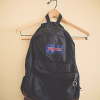 Vintage 90's Backpack Jansport Black  with leather bottom Zipper Back Pack with Leather RuckSack Hiking Seattle Style Portland Style
