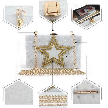 Gold Star Acrylic Clutch