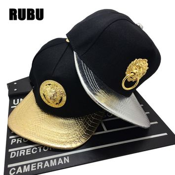New Snapback Mens Women Golden Pharaoh Avatar Baseball caps Faux Leather Egyptian Pyramid Snapback Last King hip hop Rap hats