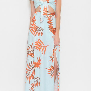 Tropical Leaf Maxi Dress - Mint & Orange