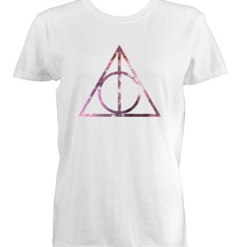 Harry Potter Deathly Hallows Galaxy Logo T-Shirt, Long Sleeve, Sweatshirt or Hoodie -Gray or White