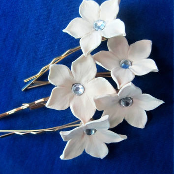 Ivory Stephanotis Hair Flower. Set of 5.  Bridal Stephanotis Hair Pins with rhinestones.