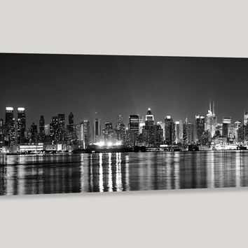 Large Wall Art Canvas Print New York City Manhattan Skyline Panorama at Night - Grayscale Manhattan Art Canvas - Streched Canvas Print