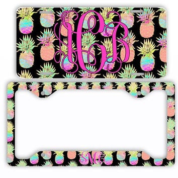 Pineapple Gold Glitter Watercolor License Plate Car Tag Monogram Frame Personalized Set Custom Initials Car Coasters