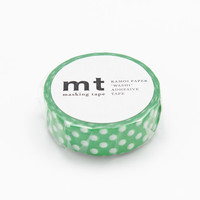 Green & White Polka Dot Tape, DECO Series, Japanese mt Washi Paper Masking Tape, Kawaii Collage, Wrapping,  Art Design Decor Sticker