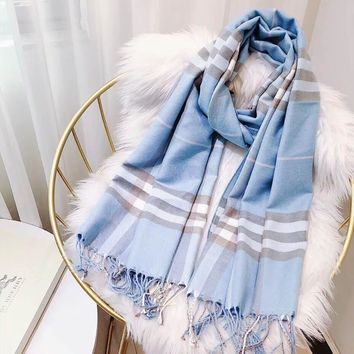 Burberry Fashion new plaid keep warm couple scarf leisure tassel Blue
