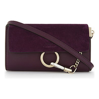 CHLOE Faye leather and suede wallet-on-chain