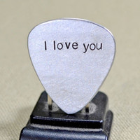 aluminum guitar pick with I love you