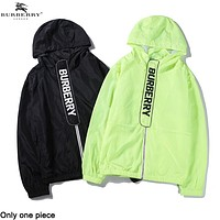 Burberry hot seller with thin cut-out back and fluorescent striped printed sunblock with hood
