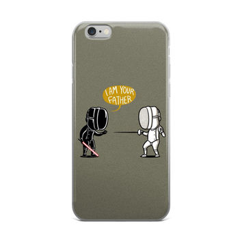 """I Am Your Father"" Star Wars Luke Skywalker vs Darth Vader Funny Grey iPhone 4 4s 5 5s 5C 6 6s 6 Plus 6s Plus 7 & 7 Plus Case"