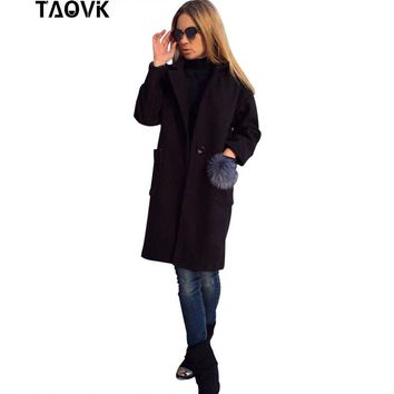 TAOVK Women long overcoat long sleeve lapel coat with a fur balls Pockets coats