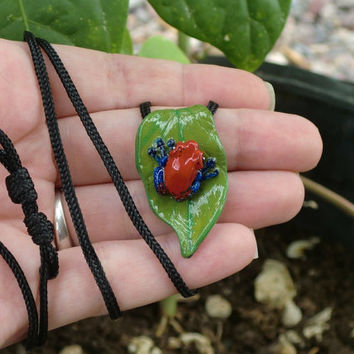 Strawberry Poison Dart Frog Necklace