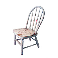 Vintage Shabby Chic Wooden Childs Chair Gray Red Chippy Paint Small Wooden Seat