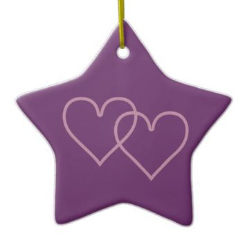 Two hearts violet ceramic ornament