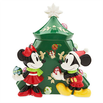 Mickey and Minnie Mouse Holiday Cookie Jar | Disney Store