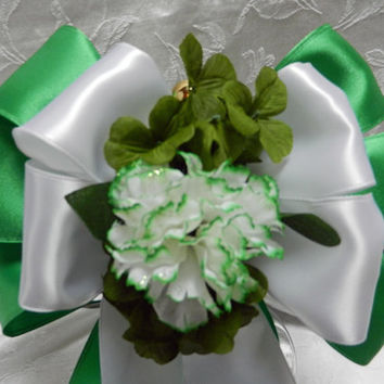 Irish Wedding St. Patricks Day bows Green and White satin with matching carnation and Shamrocks set of 12