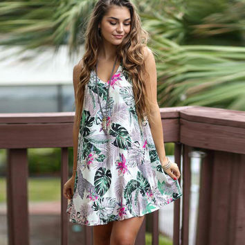 Hot Sale Women's Fashion Leaf Print Hollow Out One Piece Dress [4970298628]