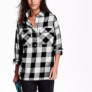 Old navy womens plaid flannel pullover from old navy for Womens navy plaid shirt