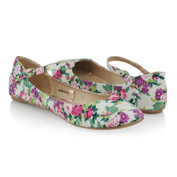 Floral Ankle Strap Flats