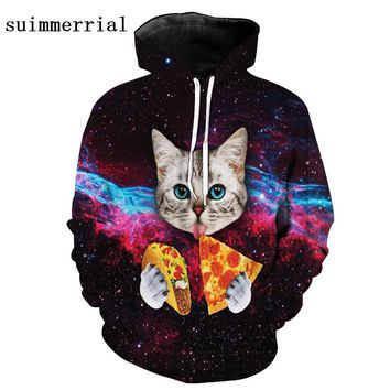 New Novelty Women/Men 3D Cat Moon Galaxy Black Hoodies Fashion Cartoon Sweatshirts Gardigan Girl Winter Cute Hooded Jacket