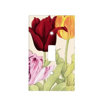 Vintage Tulip Art, Floral Botanical Light Switch Plate