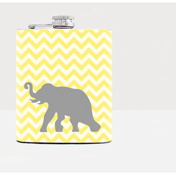 Elephant flask / Hip flask / Yellow & Gray / Flask for women / Yellow chevron / Blue chevron / 7oz