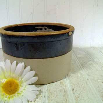 Antique StoneWare Salt Glaze Brown & Beige Crock - Vintage Hand Thrown Pottery Iridescent Glaze Pot - Cottage Display Deep Round Plant Bowl