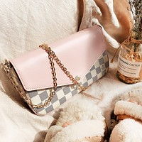 LV Louis Vuitton high quality new fashion tartan leather shoulder bag women Pink