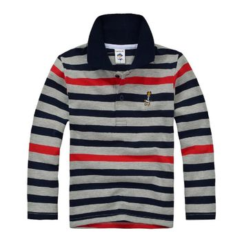 Top quality kids boy polo shirts school uniform shirt boys t shirt long sleeve cott