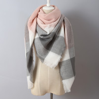 Za Brand Cashmere Scarf Plaid Designer Acrylic Blanket wrap Warm Winter Scarf Shawl For women
