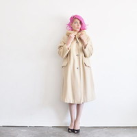 fawn fur collar mod 1960 coat . blond swing overcoat .medium