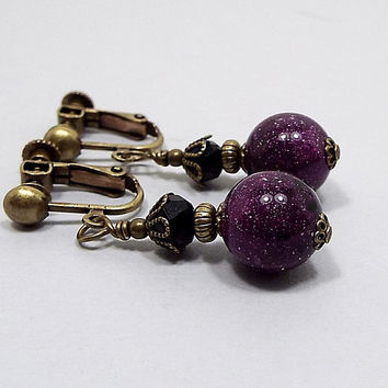 Purple Earrings, Glitter Beaded, Dark Purple, Antiqued Brass, with Vintage Lucite Beads, Black and Purple, Clip on Earrings Lever Back Hook